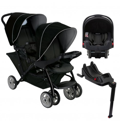 Graco Stadium Duo Double Pram Travel System with Snugride i-Size Isofix Base - Black / Grey